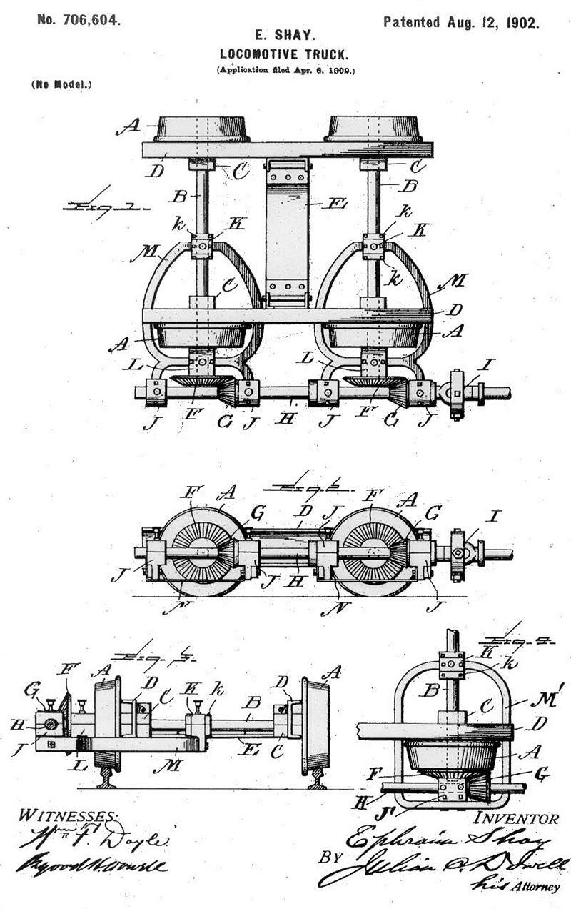 Locomotive Truck Ephraim Shay, Patent · Drawing